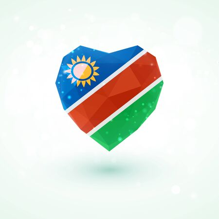 glass heart: Flag of Namibia in shape of diamond glass heart in triangulation style for info graphics, greeting card, celebration of Independence Day, printed materialsFlag of Laos in shape of diamond glass heart in triangulation style for info graphics, greeting card
