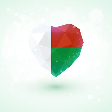 realism: Madagascar flag in shape of diamond glass heart in triangulation style for info graphics, greeting card, celebration of Independence Day, printed materials