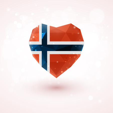 norwegian flag: Norwegian flag in shape of diamond glass heart in triangulation style for info graphics, greeting card, celebration of Independence Day, printed materials Illustration