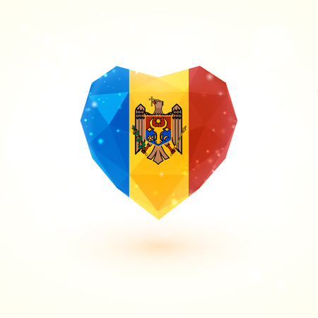 The flag of Moldova in shape of diamond glass heart in triangulation style for info graphics, greeting card, celebration of Independence Day, printed materials