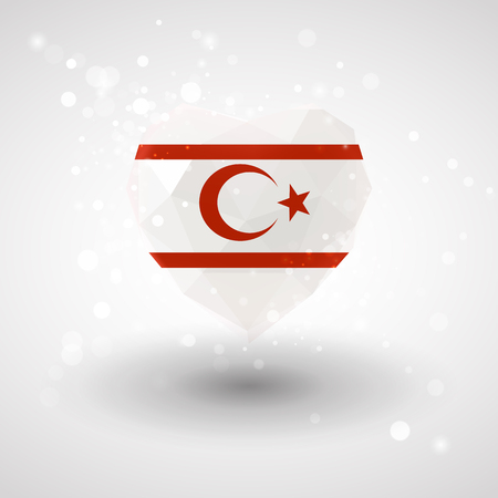 realism: Flag of Northern Cyprus in shape of diamond glass heart in triangulation style for info graphics, greeting card, celebration of Independence Day, printed materials