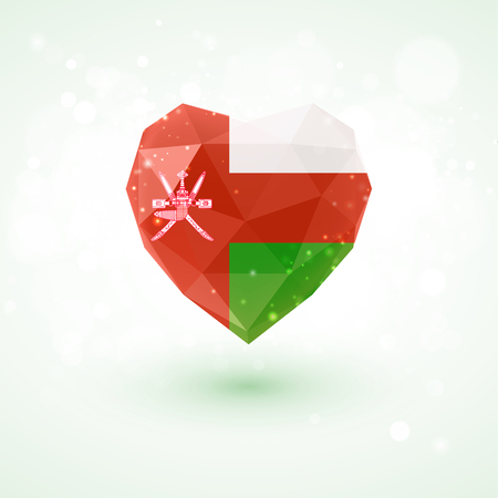 Flag of Oman in shape of diamond glass heart in triangulation style for info graphics, greeting card, celebration of Independence Day, printed materials Illustration