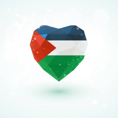 Flag of Palestine in shape of diamond glass heart in triangulation style for info graphics, greeting card, celebration of Independence Day, printed materials