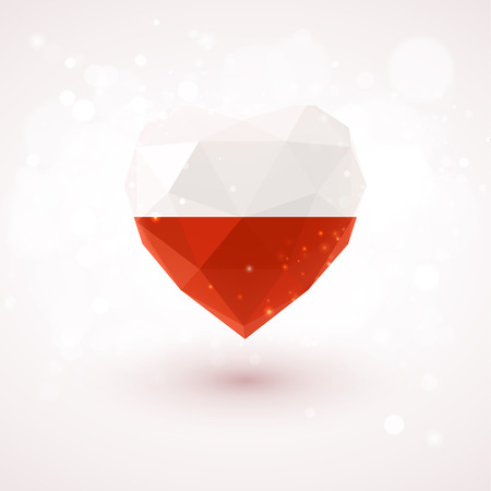 realism: Flag of Poland in shape of diamond glass heart in triangulation style for info graphics, greeting card, celebration of Independence Day, printed materials
