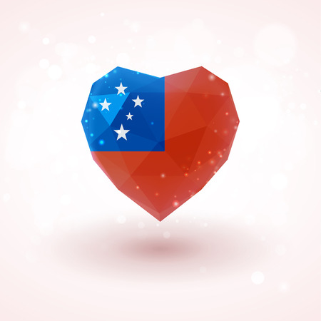 Flag of Samoa in shape of diamond glass heart in triangulation style for info graphics, greeting card, celebration of Independence Day, printed materials Illustration