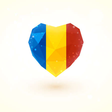 romanian: Romanian flag in shape of diamond glass heart in triangulation style for info graphics, greeting card, celebration of Independence Day, printed materials