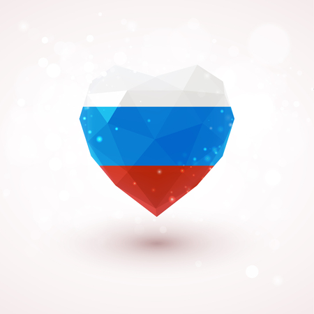 russian flag: Russian flag in shape of diamond glass heart in triangulation style for info graphics, greeting card, celebration of Independence Day, printed materials