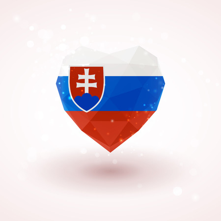 slovak republic: Slovak flag in shape of diamond glass heart in triangulation style for info graphics, greeting card, celebration of Independence Day, printed materials Illustration