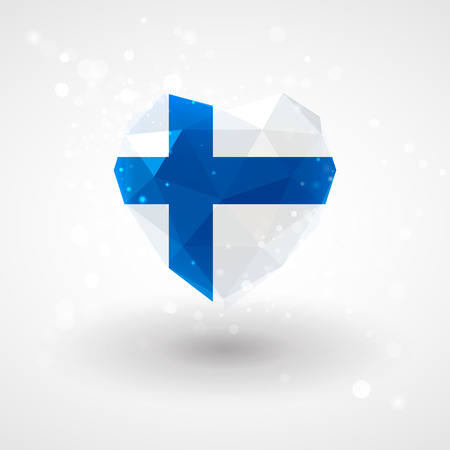 finnish: Finnish flag in shape of diamond glass heart in triangulation style for info graphics, greeting card, celebration of Independence Day, printed materials