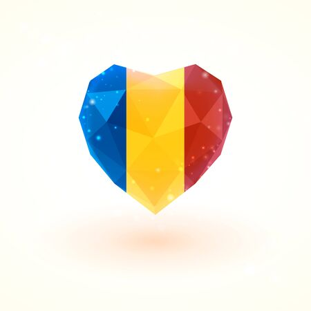 Flag of Chad in shape of diamond glass heart in triangulation style for info graphics, greeting card, celebration of Independence Day, printed materials