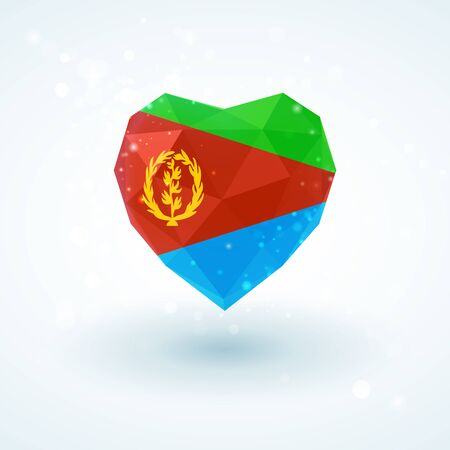 Flag of Eritrea in shape of diamond glass heart in triangulation style for info graphics, greeting card, celebration of Independence Day, printed materials