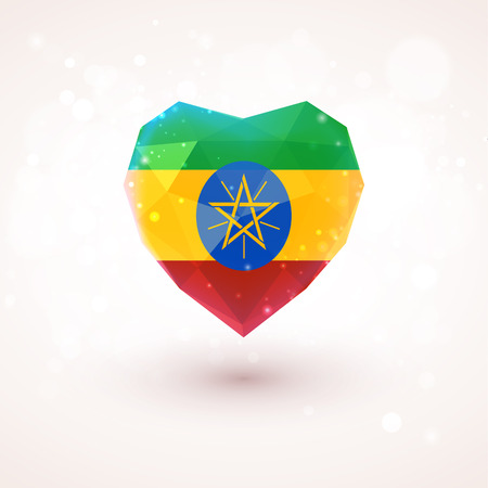 ethiopia abstract: Flag of Ethiopia in shape of diamond glass heart in triangulation style for info graphics, greeting card, celebration of Independence Day, printed materials