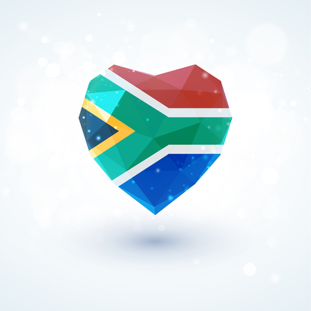Drapeau de l'Afrique du Sud en forme de coeur de verre de diamant dans un style de triangulation pour les graphiques d'informations, carte de voeux, célébration de la fête de l'indépendance, imprimés