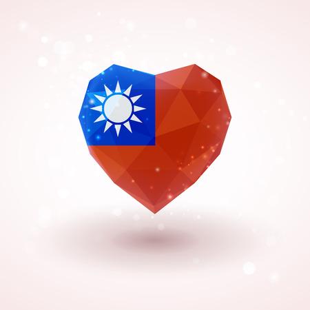 national: Bandera de Taiwán en forma de corazón de cristal de diamante en el estilo de triangulación de información de gráficos, tarjetas de felicitación, celebración del Día de la Independencia, materiales impresos