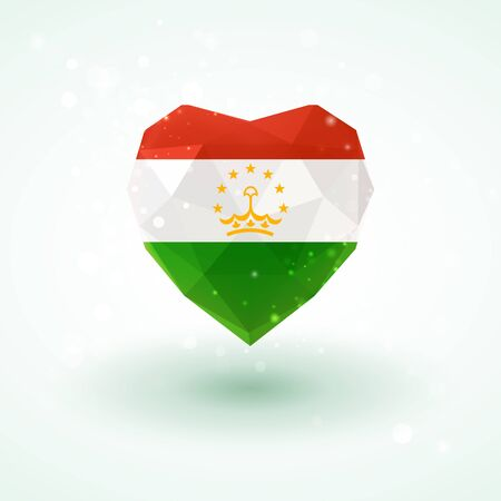 Flag of Tajikistan in shape of diamond glass heart in triangulation style for info graphics, greeting card, celebration of Independence Day, printed materials