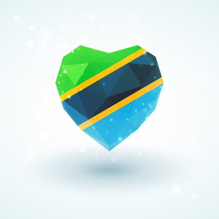 Flag of Tanzania in shape of diamond glass heart in triangulation style for info graphics, greeting card, celebration of Independence Day, printed materials