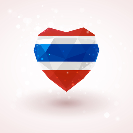 Flag of Thailand in shape of diamond glass heart in triangulation style for info graphics, greeting card, celebration of Independence Day, printed materials