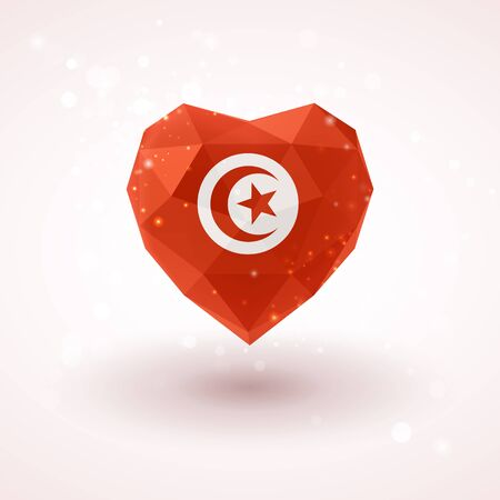 Flag of Tunisia in shape of diamond glass heart in triangulation style for info graphics, greeting card, celebration of Independence Day, printed materials