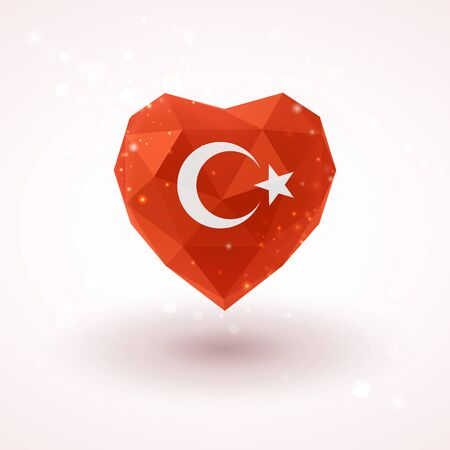 realism: Flag of Turkey in shape of diamond glass heart in triangulation style for info graphics, greeting card, celebration of Independence Day, printed materials