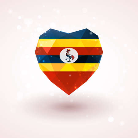 Flag of Uganda in shape of diamond glass heart in triangulation style for info graphics, greeting card, celebration of Independence Day, printed materials