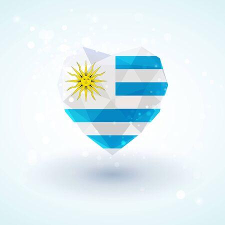 bandera de uruguay: Bandera de Uruguay en forma de corazón de cristal de diamante en el estilo de triangulación de información de gráficos, tarjetas de felicitación, celebración del Día de la Independencia, materiales impresos