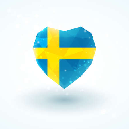 bandera suecia: Sweden flag in shape of diamond glass heart in triangulation style for info graphics, greeting card, celebration of Independence Day, printed materials Vectores