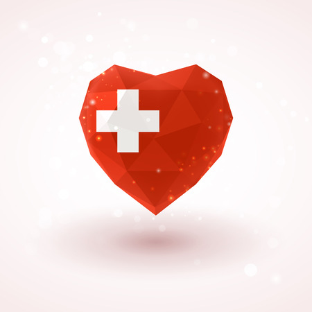Swiss flag in shape of diamond glass heart in triangulation style for info graphics, greeting card, celebration of Independence Day, printed materials