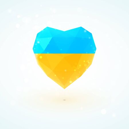 ukrainian flag: Ukrainian flag in shape of diamond glass heart in triangulation style for info graphics, greeting card, celebration of Independence Day, printed materials Illustration