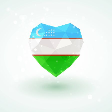 Uzbekistan flag in shape of diamond glass heart in triangulation style for info graphics, greeting card, celebration of Independence Day, printed materials