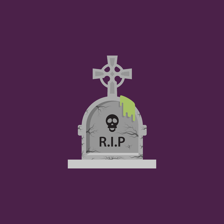 stone tombstone: Stock vector illustration a stone tombstone for halloween in a flat style