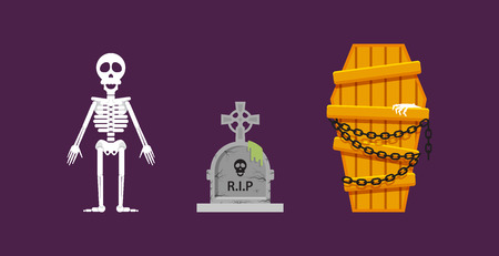 barebone: Stock vector illustration a skeleton, a wooden coffin with chains, a stone tombstone for halloween in a flat style