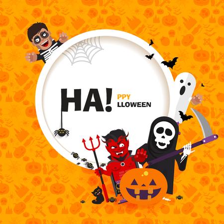guadaña: De la bandera del vector del feliz Halloween con los personajes en un estilo plano de patrón transparente para materiales impresos, tarjetas, saludos, invitaciones a una fiesta Vectores
