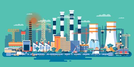 Ilustración vectorial material de una zona industrial con fábricas, plantas, almacenes, empresas en el estilo plano