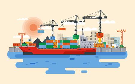 navy pier: Stock vector flat style illustration loading of cargo ship in sea or river port, carriage of goods by water, delivery by sea, large wholesale shipping and transportation, Cranes in industrial area