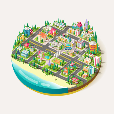 Stock Vector Isometric city business center with shops, church, school, office building, police station, hospital, drugstore, fire brigade, cafe, restaurant, Ferris wheel on the beach
