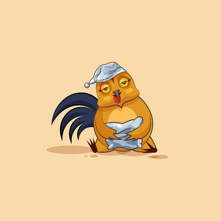 Stock Illustration isolated Emoji character cartoon sleepy Cock in nightcap with pillow sticker emoticon for site, info graphics, video, animation, websites, e-mails, newsletters, reports, comics