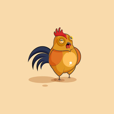 Vector Stock Illustration isolated Emoji character cartoon Cock squints and looks suspiciously sticker emoticon for site, info graphics, video, animation, websites, e-mails, newsletters, reports, comics Illustration