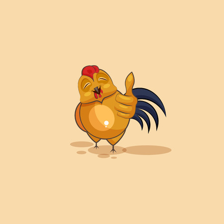 Vector Stock Illustration isolated Emoji character cartoon Cock approves with thumb up sticker emoticon for site, info graphics, video, animation, websites, e-mails, newsletters, reports, comics