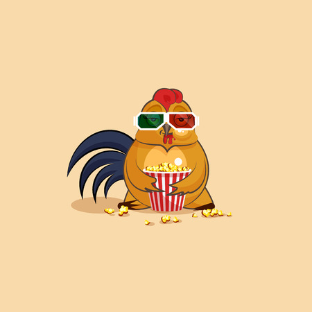 Vector Stock Illustration Emoji character cartoon Cock chewing popcorn, watching movie in 3D glasses sticker emoticon for site, infographic, video, animation, website, e-mail, newsletter, report, comic Illustration