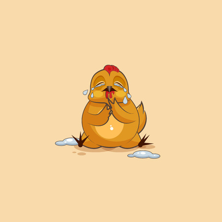 Vector Stock Illustration isolated Emoji character cartoon Hen crying, lot of tears sticker emoticon for site, infographics, video, animation, websites, e-mails, newsletters, reports, comics Illustration