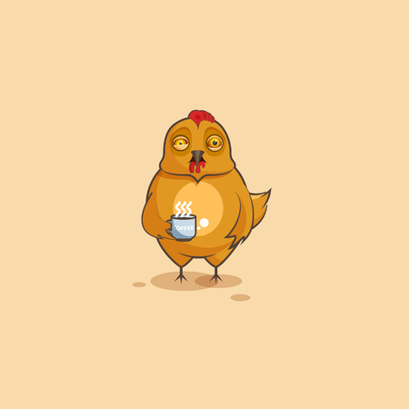 Vector Stock Illustration isolated Emoji character cartoon Hen nervous with cup of coffee sticker emoticon for site, infographics, video, animation, websites, e-mails, newsletters, reports, comics Illustration