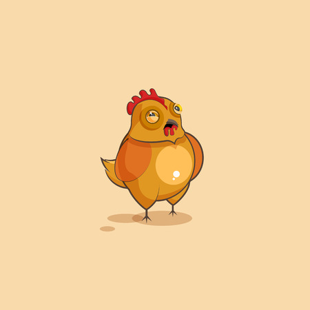 Vector Stock Illustration isolated Emoji character cartoon Hen squints and looks suspiciously sticker emoticon for site, infographics, video, animation, websites, e-mails, newsletters, reports, comics Illustration
