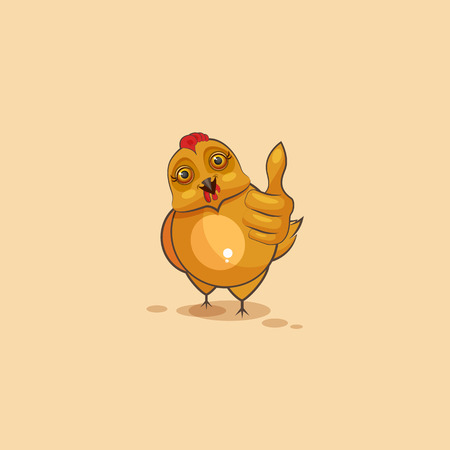 Vector Stock Illustration isolated Emoji character cartoon Hen approves with thumb up sticker emoticon for site, infographics, video, animation, websites, e-mails, newsletters, reports, comics Illustration