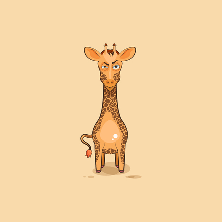 Vector Stock Illustration isolated Emoji character cartoon Giraffe sticker emoticon with angry emotion for site, info graphics, video, animation, websites, e-mails, newsletters, reports, comics Illustration