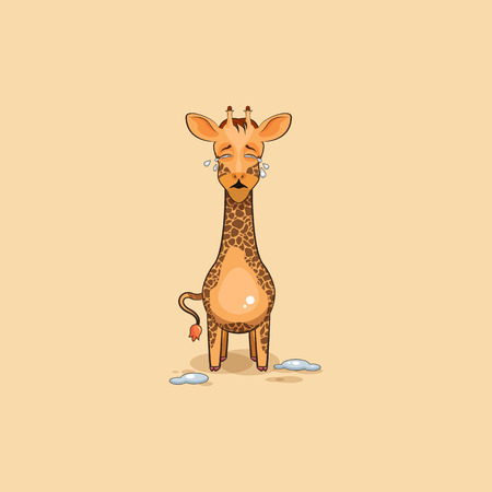 Vector Stock Illustration isolated Emoji character cartoon Giraffe crying, lot of tears sticker emoticon for site, info graphics, video, animation, websites, e-mails, newsletters, reports, comics