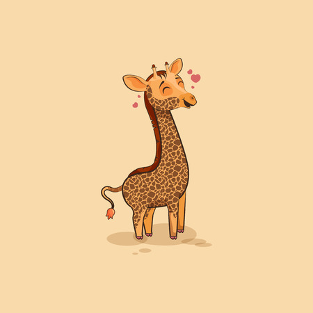 camelopard: Vector Stock Illustration isolated Emoji character cartoon Giraffe in love flying with hearts sticker emoticon for site, info graphics, video, animation, websites, e-mails, newsletters, reports, comic Illustration