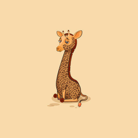 Vector Stock Illustration isolated Emoji character cartoon Giraffe sad and frustrated sticker emoticon for site, info graphics, video, animation, websites, e-mails, newsletters, reports, comics