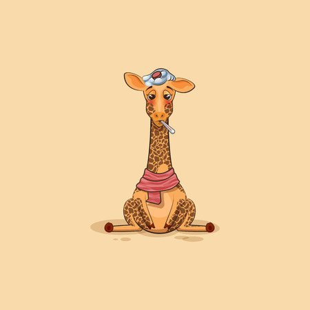 camelopard: Vector Stock Illustration isolated Emoji character cartoon Giraffe sick with thermometer in mouth sticker emoticon for site, info graphics, video, animation, website, mail, newsletters, reports, comic Illustration