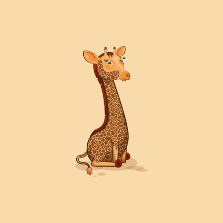 Vector Stock Illustration isolated Emoji character cartoon Giraffe squints and looks suspiciously sticker emoticon for site, info graphics, video, animation, website, mail, newsletters, reports, comic