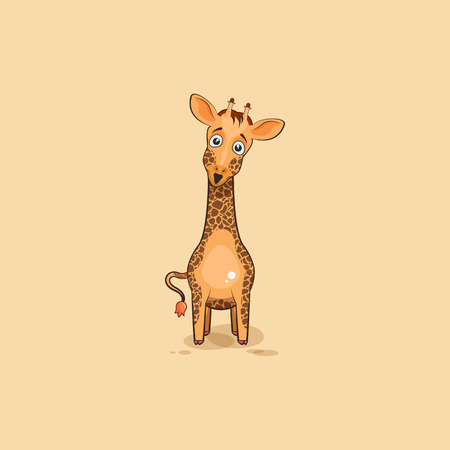 Vector Stock Illustration isolated Emoji character cartoon Giraffe surprised with big eyes sticker emoticon for site, info graphics, video, animation, websites, e-mails, newsletters, reports, comics